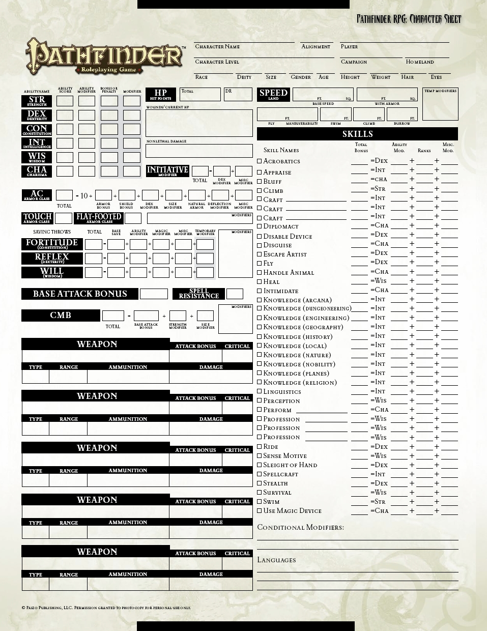 Smart image with printable pathfinder character sheet