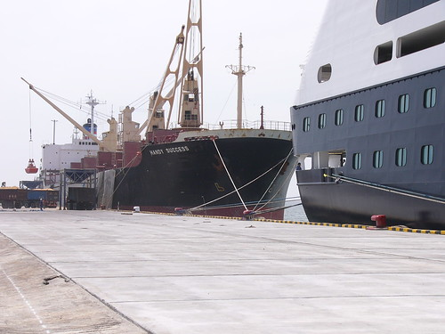 A freighter shared the dock with the Ms Amsterdam.