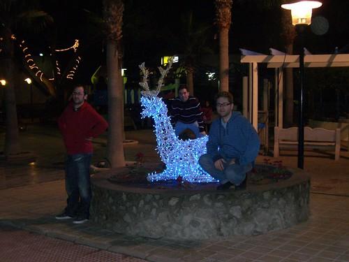 Un reno de luz y tres elfos
