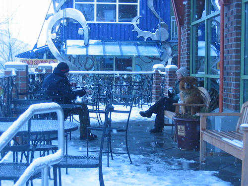 Fremont Friends Sip Coffee at Peet\'s in the snow