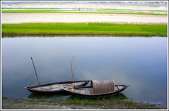 You & Me [..Manikganj, Bangladesh..] (Catch the dream) Tags: blue sky reflection water lines horizontal composition river landscape boats pattern order peace paddy duo