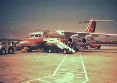 US Air BAe146 (So Cal Metro) Tags: plane airplane airport san sandiego aircraft aviation jet airline 1980s airliner usair usairways bae146 lindberghfield