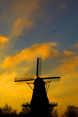 Mill silhouette (kees straver (will be back online soon friends)) Tags: old blue trees light sky orange holland building tree mill abandoned nature water netherlands windmill dutch amsterdam silhouette yellow clouds river wind nederland molen windmolen keesstraver