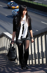 China beauty (hunting_owl) Tags: black stairs candid longhair streetphotography nylon chinesegirl asianbeauty overheadbridge