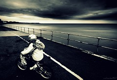 (andrewlee1967) Tags: uk sea sky girl bike bicycle wales clouds rhosonsea cyclelane sigma1020mm andrewlee 50d mywinners andrewlee1967 canon50d justabouttotakeashotwhenevelknievelwhizzespast
