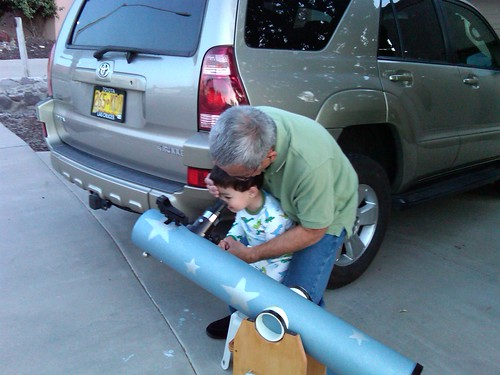 stargazing with Da's homemade telescope