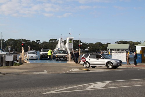 Unloading cars from the Raymond Island Ferry at Paynesville