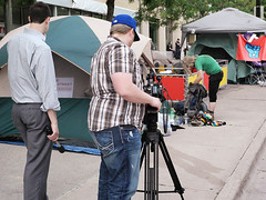 Shooting B Roll in Walkerville (Madison Guy) Tags: news television wisconsin media budget protest reporter madison wi cameraman walkerville broll