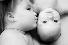 *my heart* (Kari Beari) Tags: girls baby sisters nikon toddler infant kiss siblings year1 year3 month4 d40