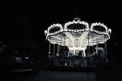 Carousel (KT Crabb Photography) Tags: blackandwhite kids night dark fun scary play carousel creepy merrygoround