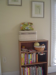 Book shelf and embroidery goodies