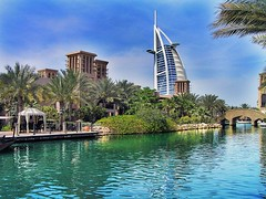 Just being different! (Fadi Asmar ^AKA^ Piax) Tags: travel blue sky reflection green water palms hotel dubai market luxury souq jumairah burjelarab piax mywinners impressedbeauty