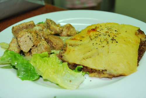 Shepherd's Pie and Seared Tuna with Dill in Lemon-Wasabi Sauce