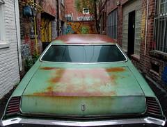 chicken alley vehicle - my 15,000th shot (zen) Tags: usa green car rain big rust asheville northcarolina 10up3 chickenalley zensutherland 15000th 20080511 googleavl