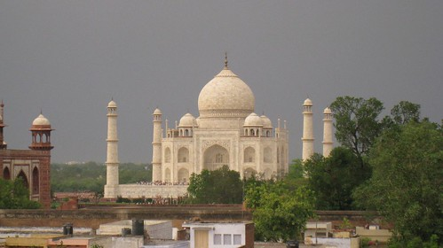 Taj Mahal from hotel rooftop restaurant