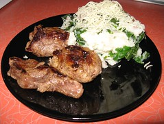 One Local Summer wk 3: Tenderloin pieces, Mashed Potatoes with Kale & Cheese