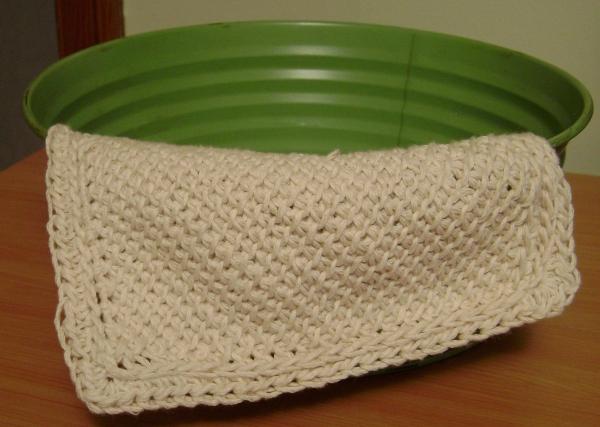 Cattycorner Tunisian Washcloth front