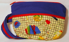 Sew Happy Wristlet (theatre_goddess) Tags: blue red yellow bag handmade wallet sewing sew retro fabric cotton purse clutch wristlet