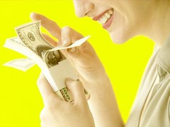 woman counting money