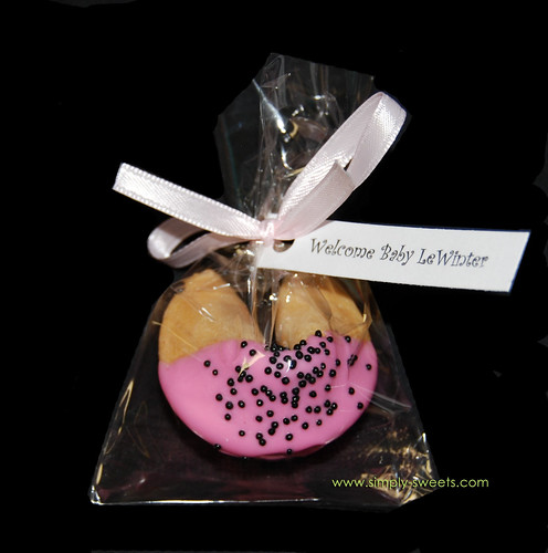 Chocolate dipped fortune cookie baby shower favors ladybug theme