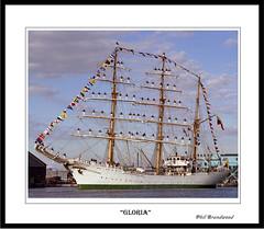 """Gloria"" arriving East Float Birkenhead 31 July 1984 (Scouse Hobbit) Tags: gloria tallships sailtrainingship columbiannavy tallshipsliverpool"