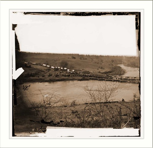 Germanna Ford Rappahannock River Virginia. Grants troops crossing Germannia Ford Date: c. 1864