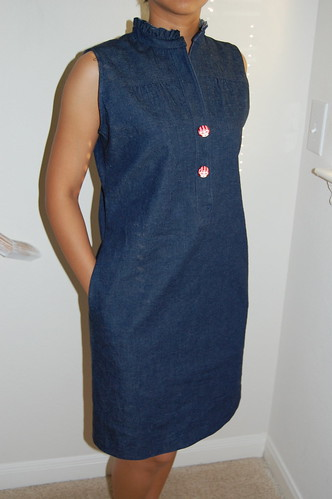 ruffled collar denim dress front