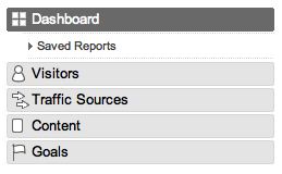 Google Analytics nav bar