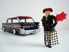 Lego Sue And Her '57 Pontiac Safari! (Lino M) Tags: seattle black car station dark wagon spider lego goth 1957 blackwidow custom lino lugnuts legosue buildchallenge sympathyfortheunderdog 57pontiacsafari