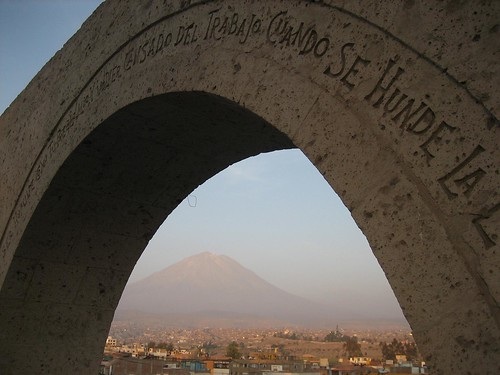 El Misti through arch, Arequipa, Peru