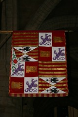Banner of Catherine of Aragon (beery) Tags: grave heraldry cathedral tomb royal pomegranate granada aragon peterborough peterboroughcathedral castile royalarms catherineofaragon katherineofaragon castileleon aragonsicily