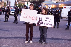 Protesters preach love and tolerance