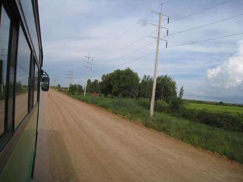 View from the bus along the road to Siem Reap