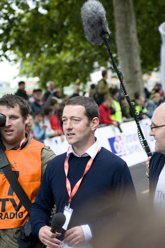 Ned Boulting covering the 2008 Tour of Britain. Photo: Adam Bowie
