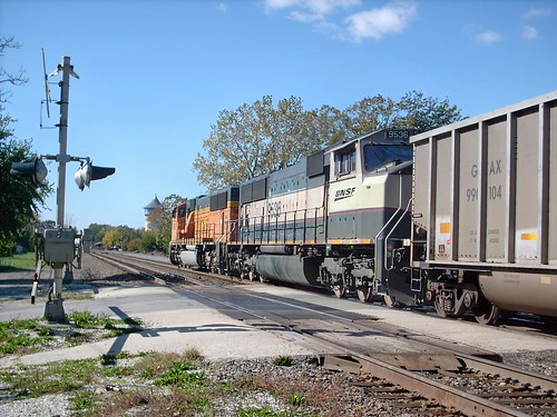 Westbound BNSF Railway empty unit coal train. Riverside Illinois. October 2007. by Eddie from Chicago