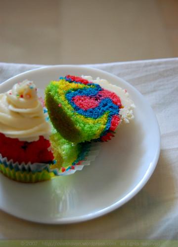 rainbow cupcake sliced