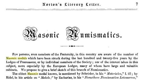 Masonic Numismatics Norton Literary Letter