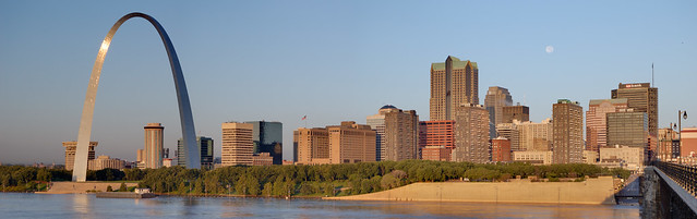 Downtown Saint Louis, Missouri - view from Eads Bridge at sunrise