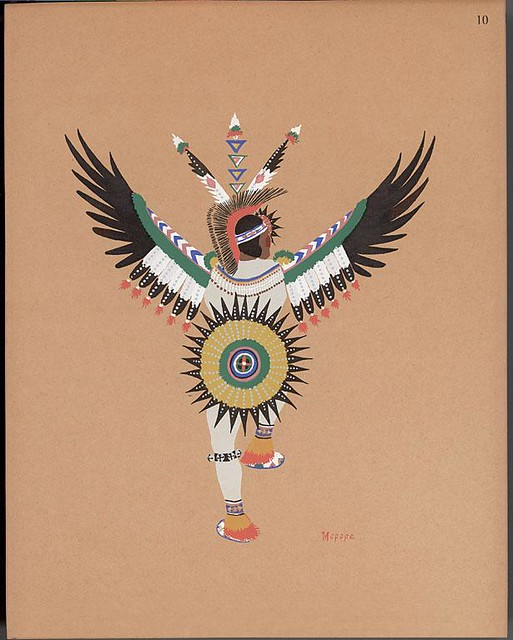 1929 colour print of American Indian Eagle dance