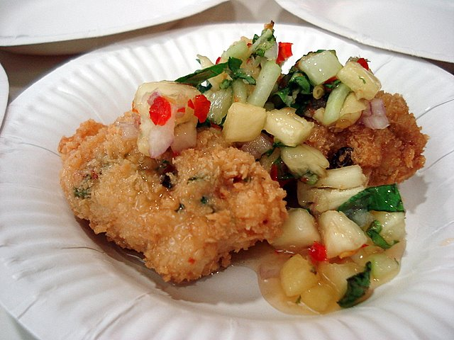 Squid cakes with pineapple salsa