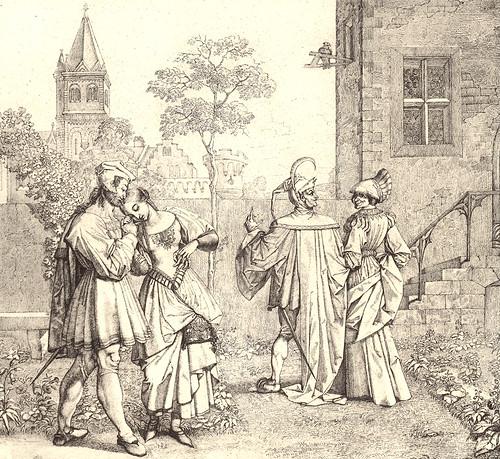 17- Fausto con Gretchen y Mefistófeles con Marta en el jardín