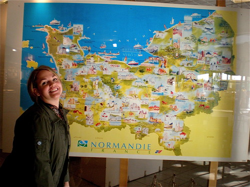 Marylynn and a Map of Normandy