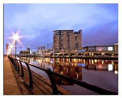 Time to reflect (Mike926.) Tags: bridge reflection water architecture canon buildings amazing perfect long exposure sigma salfordquays millennium greatshot salford quays 10mm freephotos 40d canon40d mikederby