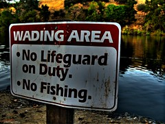 Sign (youneverknowphotography) Tags: trees lake water grass sign canon landscape outside fishing outdoor no duty vivid lifeguard powershot shore area shallow dried bushes solano hdr picnik wading g7 photomatix