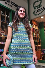 Irini is modeling her dress.! (sifis) Tags: city colour wool shop sweater nikon knitting dress knit athens yarn pullover d300  sakalak