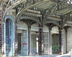 Taxi pickup at the abandoned Michigan Central Train Station (DetroitDerek Photography ( ALL RIGHTS RESERVED )) Tags: railroad detail building abandoned architecture train graffiti october rust closed symbol decay michigan empty cab taxi urbandecay detroit central ruin police railway icon terminal historic explore rusted depot weathered passenger 2008 dilapidated hire 313 motown corktown