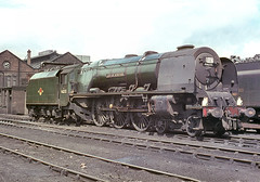 46255 'City of Hereford'. Carlisle (Kingmoor). 12 July 1964 (ricsrailpics) Tags: uk colour shed steam cleaned 1964 duchessclass greenlivery exlms cityofhereford carlislekingmoor uksteampool