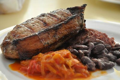 Pork Chop with pinto bean & pumpkin mash