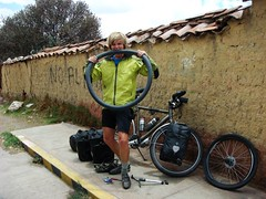 Another flat tyre! Near Juliaca, Peru.