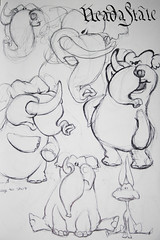 Concept sketch for Donkey and Elephant